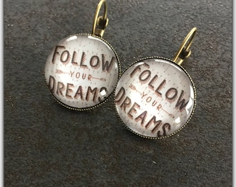 retro earrings, glass cabochon, follow your dreams