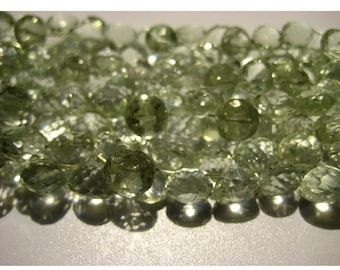 Green Amethyst - Micro Faceted Onion Briolettes - 7mm Each - 4 Inch Half Strand - 30 Pieces Approx