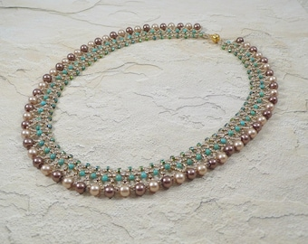 Woven Pearl Necklace Turquoise and Cream