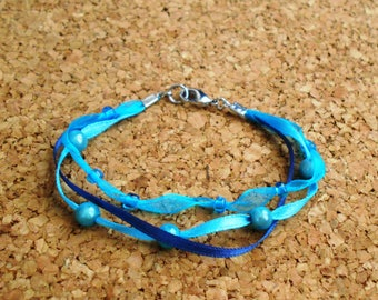 Blue Ribbons and Beads Bracelet