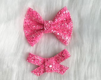 Bright Pink glitter Brook or Madison Bows