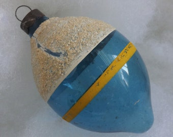 Vintage unsilvered WWII glass Christmas ornament blue teardrop white mica snowcap yellow striped