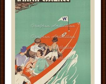 Vintage Boating On Lake Winnipesaukee, New Hampshire Travel Poster, Printable Instant Digital Download DIY Wall Decor, Pleasure Boat