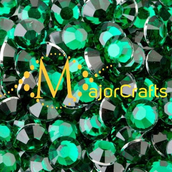 Dark Emerald Green Flat Back Round Resin Rhinestones Embellishment Gems C38