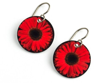 Red Gerbera Daisy Photo Earrings on Titanium Ear Wires