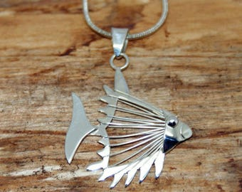 Sterling Silver Bonefish Detail Pendant and Chain - Handmade silver pendant - Pendant and chain - Bonefish pendant - Gift for her - (MP11)