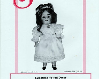 "Seeley's Dollmaker's Pattern No. CP930 Sweetpea Yoked Dress for Sweetpea and other 8.75"" All-Bisque Dolls"