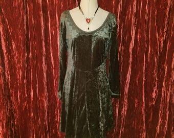 Vintage Black Velvet Corset Laced Dress Medium 7 Witchy Gothic