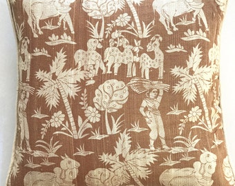 Panchatantra Cushion Cover-Beige/Gold