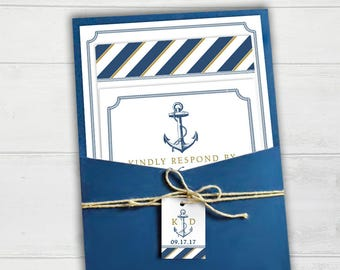 Nautical Anchor Wedding Invitation - Megan Elizabeth Designs