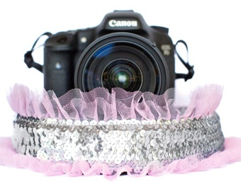 Sequin Camera Strap Silver with Pink Tulle