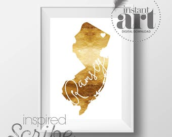 Personalized city and state map art in simulated metallic gold housewarming gift or dorm room decor