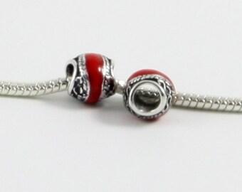 3 Beads - Red Enamel Scroll Silver European Bead Charm E0537