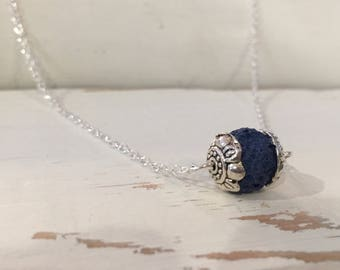 Essential Oil Diffuser Navy Blue Lava Stone Aromatherapy Silver Necklace