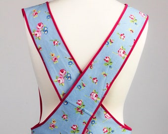 Cross Back Apron - Japanese Apron - Kitchen apron - Floral apron