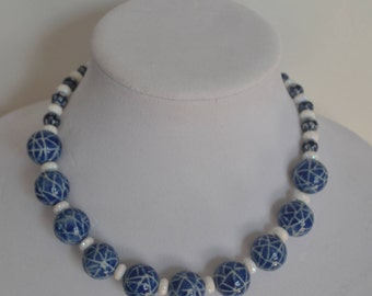 Bold and Chunky Navy Blue and White Necklace