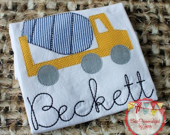 Boys Truck Cement Truck Mixer Personalized Monogrammed and Appliqued Shirt