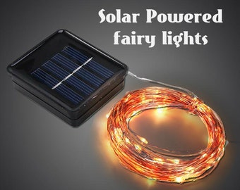Solar Powered Fairy Wire - Silver or Copper colored Wire.  Choose from 8.5 - 33 Foot Lengths.  Warm White LEDs