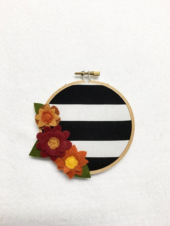 Fabric Wall Art, Clearance -  Embroidery Hoop Art, Harvest Stripes, Floral Wall Decor, Hoop Wall Hanging, Felt Flower Hoop, Wedding Decor