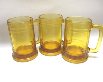 Gold Beer Mugs Drinking Tankards Steins Set Of Three Handle Glasses Rootbeer