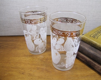 Vintage Drinking Glasses - Gold Band - White Fruit - Set of Two (2)