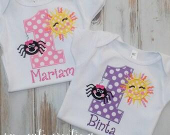 Itsy Bitsy Spider Birthday shirt, spider birthday shirt, sun birthday shirt, Girl Birthday Shirt, Boy birthday shirt, sew cute creations