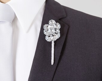Wedding Boutonniere - Silver Mirrored Boutonniere - Bling Boutonniere - Grooms Boutonniere