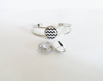 Bracelet snap chunk interchangeable 3 in 1 black and white pattern