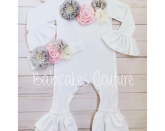 Newborn Girl Coming Home Outfit, Newborn Take Home Outfit, Newborn Ruffle Romper, Newborn Photo Outfit, Baby Girl Clothes, Baby Shower Gift