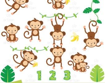 monkey clipart etsy rh etsy com baby girl monkey clip art baby monkey cartoon clip art