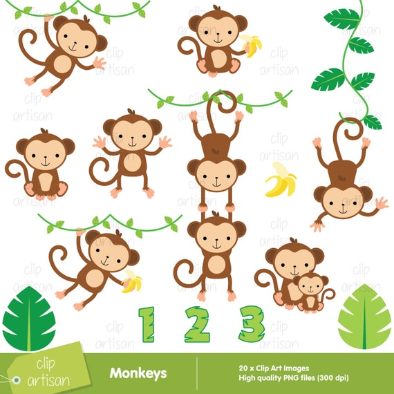 monkey clipart monkeys clipart baby monkey clipart rh etsy com monkey clipart black and white monkey clip art images