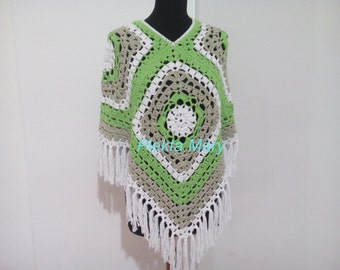 Summer poncho crochet, women clothes bohemian style, hippie clothes, green white summer top, handmade poncho,  poncho granny square