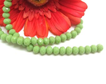 Set of 10 beads Green Apple clear glass Donut - 7.5 * 6.5 mm
