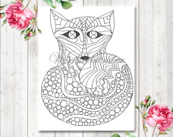 Adult Coloring Page, Fox Art, Digital Download, Woodland Animals, Kids Coloring Page, Nursery Wall Art, Printable Coloring, Kids Activities