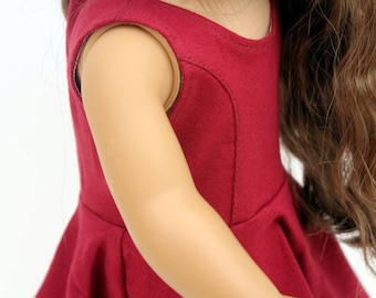 SAMPLE SALE - Fits like American Girl Doll Clothes - The Everyday Princess Dress in Burgundy