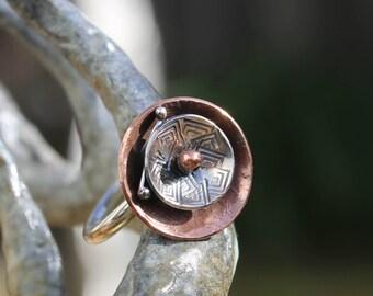 Handmade sterling silver ring, handmade copper ring, sterling silver, copper, ring,