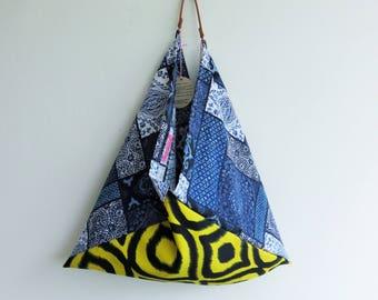 origami bento bag, cotton tote bag, market shopping bag, eco friendly, grocery bag, large hobo bag, reusable bag, Christmas gift idea