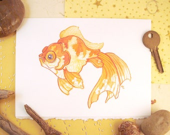Watercolor Veiltail Goldfish Print Greeting Card