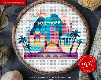 Hollywood Cross Stitch Pattern for Instant Download *P097 | Easy Cross Stitch| Counted Cross Stitch|Embroidery Design| City Cross Stitch