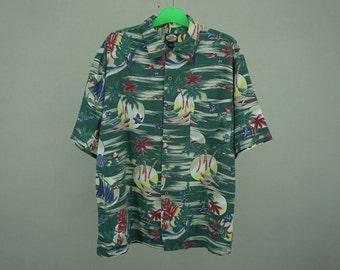 Tommy Bahama Shirt Men Size M Tommy Bahama Palm Coconut Tree Boats Hawaiian Shirt