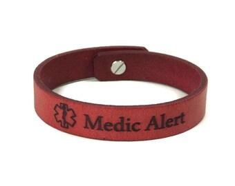 Medical ID Bracelet Personalized Just for you, Laser Engraved Leather Bracelet, Custom Medical Alert Bracelet with Medic Alert Symbol