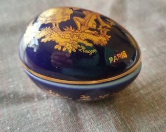 """Limoges France Vintage Small 2"""" Porcelain Egg Shaped Ring Trinket Box Gold trim"""