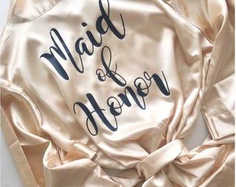 Bridesmaid Robes, Bridesmaid Gifts,  Plain Satin Robes,  Set of 4, 5, 6, 7, 8, 9, 10, 11, 12, Bridesmaid Bride Robe, Getting Ready Robe