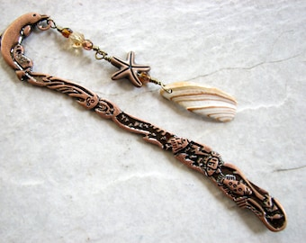 Beach Bookmarks, Sea Shell Bookmark with Starfish, Beaded Bookmark, Copper Dolphin Metal Book Mark, Teachers Gifts for Ocean Lover