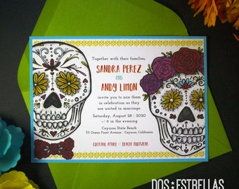 "EL y ELLA / 5"" x 7"" Sugar Skull Wedding / Anniversary / Save The Date / Engagement / Party Invitations / Announcements"