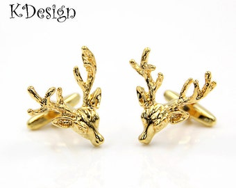 gold elk cuff links man cuff links wedding cuff llinks