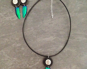 Leather necklace, silver and beetle Elytron