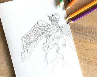 Love Bird printable coloring card and page