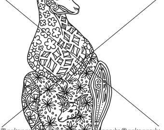 Kangaroo and Joey Zentangle Coloring Page