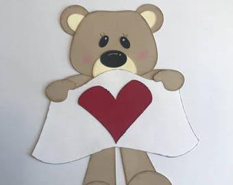 Heart Bear  Valentine Premade Scrapbook pages Die Cut